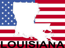 Map of Louisiana with flag Royalty Free Stock Photos