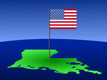 Map of Louisiana with Flag. Map of Louisiana with American Flag on pole Stock Photos
