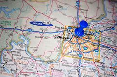 Louisville, Kentucky. A map of Louisville, Kentucky marked with a push pin stock photo
