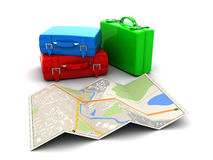 Map and luggage Royalty Free Stock Photography