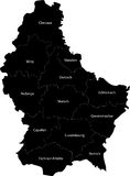 Map of Luxembourg. Blind map of Luxembourg with regions borders. Names of the regions, main cities, and neighbouring countries  are in an additional format (.AI Royalty Free Stock Images
