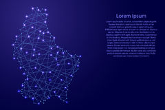 Map of Luxembourg from polygonal blue lines, glowing stars  illustration Stock Photos