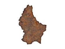 Map of Luxembourg on rusty metal Royalty Free Stock Images