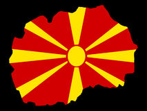 Map of Macedonia. And Macedonian flag illustration Royalty Free Stock Photos