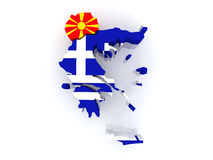 Map of Macedonia and Greece. Royalty Free Stock Images