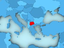 Map of Macedonia. Macedonia in red on blue political map. 3D illustration Royalty Free Stock Images