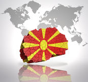 Map of  Macedonia. Map of Macedonia with Macedonian Flag on a world map background Royalty Free Stock Images