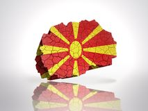 Map of  Macedonia. Map of Macedonia with Macedonian Flag on a white background Stock Image