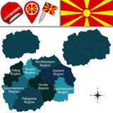 Map of Macedonia with statistical regions Stock Image