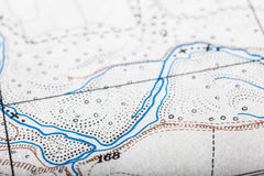 Map Macro. Detail of an old and worn military map Royalty Free Stock Images