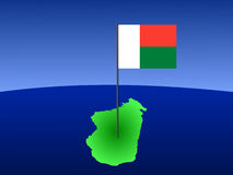 Map of Madagascar with flag Stock Images
