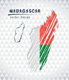 Map of Madagascar with hand drawn sketch pen map inside. Vector illustration. Vector sketch map of the Madagascar with flag, hand drawn chalk illustration Royalty Free Stock Images