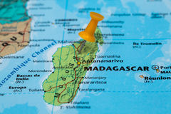 Map of Madagascar with a orange pushpin stuck Royalty Free Stock Photography