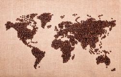 Map made of coffee Royalty Free Stock Photos