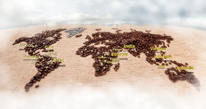 Map made of coffee. Image of map made of coffee. Closeup Royalty Free Stock Photography
