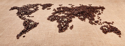 Map made of coffee. Image of map made of coffee. Closeup Royalty Free Stock Image