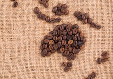 Map made of coffee grains. Stock Images