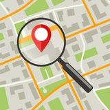 Map with magnifier. Simple flat illustration of city plan with streets royalty free illustration