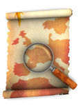 Map and magnify glass Stock Photography