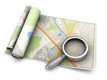 Map and magnify glass Stock Images