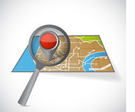 Map and magnify glass illustration design Royalty Free Stock Photo