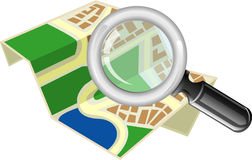 Map with magnifying glass Royalty Free Stock Photography