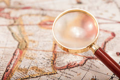 Map with Magnifying Glass Royalty Free Stock Photo