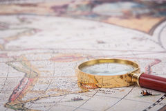 Map with Magnifying Glass Royalty Free Stock Image
