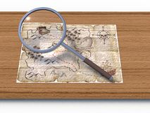 Map through a magnifying glass Stock Photos