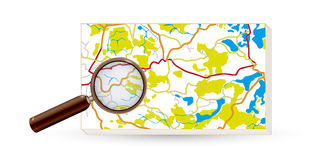 Map and magnifying glass Royalty Free Stock Photo