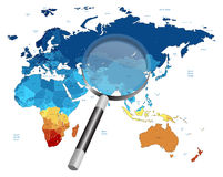 Map And Magnifying Glass. Vector illustration of the world map and magnifying glass Stock Photo