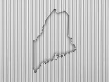 Map of Maine on corrugated iron Stock Photo