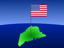 Map of Maine with flag Royalty Free Stock Image