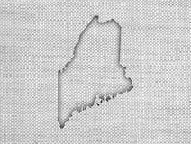 Map of Maine on old linen Stock Photo