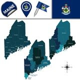 Map of Maine with Regions. Vector map of Maine with named regions and travel icons Stock Image