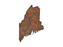 Map of Maine on rusty metal Royalty Free Stock Photos