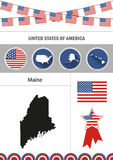 Map of Maine. Set of flat design icons nfographics elements with Royalty Free Stock Photography