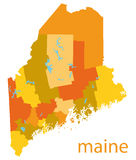 Map of maine, usa. Detailed  map of maine, usa Royalty Free Stock Photo