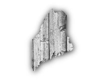 Map of Maine on weathered wood Royalty Free Stock Photos