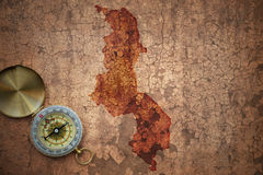 Map of malawi on a old vintage crack paper Royalty Free Stock Photography