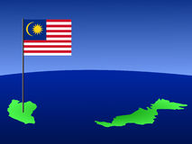 Map of Malaysia with flag. Map of Malaysia and Malaysian flag on pole illustration Royalty Free Stock Photography