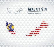 Map of Malaysia with hand drawn sketch pen map inside. Vector illustration. Vector sketch map of Malaysia with flag, hand drawn chalk illustration. Grunge design Vector Illustration