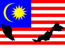 Map of Malaysia and Malaysian flag Stock Images