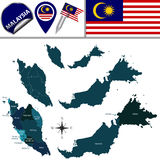 Map of Malaysia with named governorates Stock Images