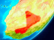 Orbit view of Mali in red. Map of Mali as seen from space on planet Earth. 3D illustration. Elements of this image furnished by NASA Royalty Free Stock Photography