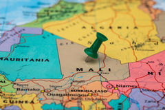 Map of Mali with a green pushpin stuck Stock Images