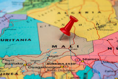 Map of  Mali with a red pushpin stuck Stock Image