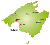 Map of Mallorca. With main cities Royalty Free Stock Image