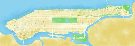 Map Manhattan, New York City, drawn by hand Royalty Free Stock Image