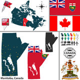 Map of Manitoba, Canada Stock Photography